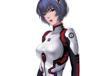 Ayanami Rei - hd, cg, rei, anime, hot, anime girl, realistic, female, rei ayanami, genesis, ayanami, ayanami rei, bodysuit, sexy, evangelion, plain, short hair, cute, neon genesis evangelion, 3d, girl, blue hair, eva, simple, white, red eyes