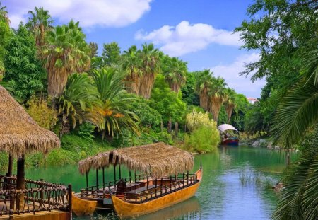 Exotic river cruise - pretty, hut, riverbank, cruise, grass, travel, beautiful, clouds, nice, river, reflection, vacation, exotic, lovely, sky, palms, nature, walk