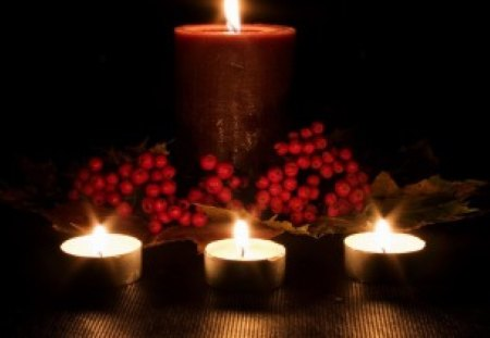 By Candlelight - romantic, candles, berries