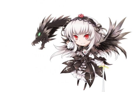 Suigintou - hd, adorable, wing, rozen maiden, dragon, blade, anime, hot, anime girl, weapon, sword, female, wings, suigintou, angel, sexy, chibi, plain, cute, girl, simple, white, red eyes