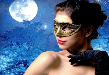 LOVE in the MOONLIGHT - fantasy, moon, girl, story, mask