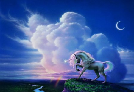 The Last Unicorn - fantasy, fairyland, cloud, river, cliff, mystic
