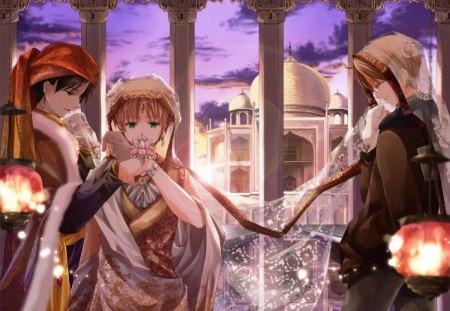 Arabian nights - castle, light, veil, sky, anime, hetalia, arabian, lantern, purple, girl, night