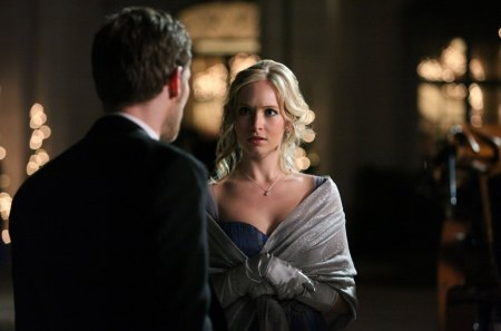 Klaus and Caroline - movie, vampire diaries, woman, caroline, masquerade, ball, fantasy, actress, klaus, tv series, werewolf, grey, beauty, light, night, black, blonde, man, girl, joseph morgan, candice accola, creature, actor
