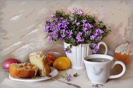 Easter morning - Easter, still life, special days, eggs, flowers, cup of tea