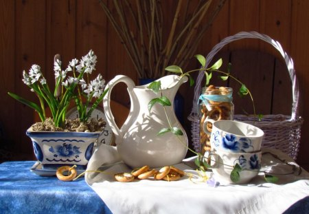 Good Morning! - wonderful, peaceful day, decoration, still life, basket, flowers, day, sunshine, morning, white, cups, blue