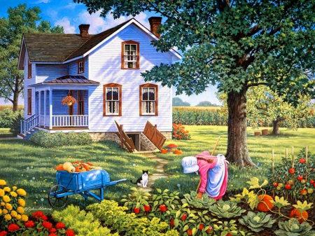 Countryside life - pretty, house, grass, cottage, fruits, cart, cabin, beautiful, countryside, kid, nice, painting, village, flowers, child, art, quiet, lovely, life, greenery, freshness, tree, serenity, peaceful, summer, garden, nature, vegetables