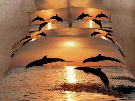 Beauty Of Sleep - photography, dolphins, sheets, abstract, animals