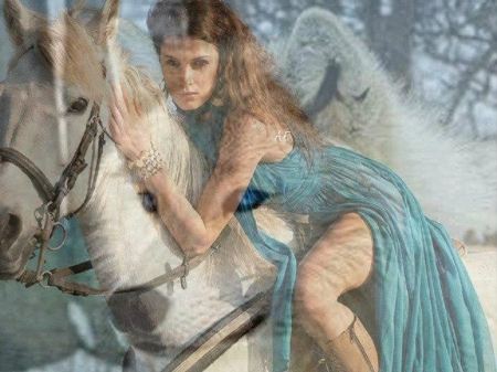 Dreams 2 - beach, fantasy, wolf, horse, abstract, woman, animals