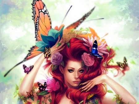 Nature Beauty - Sky, Insects, Butterfly, Nature, Beauty, Red head, Clouds, Flowers, Animals