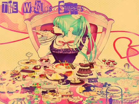 The Worlds Sweets - vocaloid, table, candy, colorful, sweets, hatsune miku, food, desserts, anime, feast, cakes