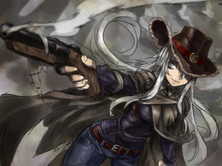 Garamy - female, cowgirl, white hair, hat, gun, the arms peddler, grey background, garamy, anime, cloak, blue eyes
