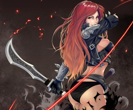 Katarina du Couteau - katarina du couteau, katarina, games, swords, video games, red hair, league of legends, armor, long hair, red eyes