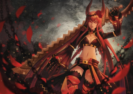 Black Gold Saw - female, red hair, thigh highs, horns, girl, shorts, anime, black gold saw, black rock shooter, weapon, brs, long hair, sword, red eyes