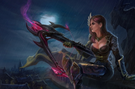 Midnight Assassin - female, armor, fantasy, moon, lone, rain, crossbow, weapon, pink hair, armour, night