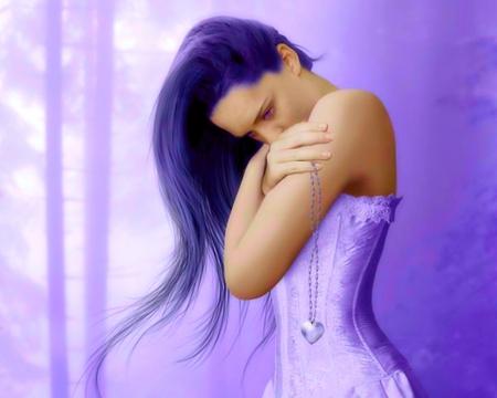 Bring back my heart - fantasy, purple, girl, art, hair