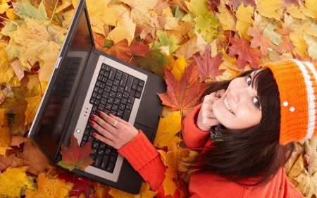 girl laptop - saw, leaves, smile, laptop