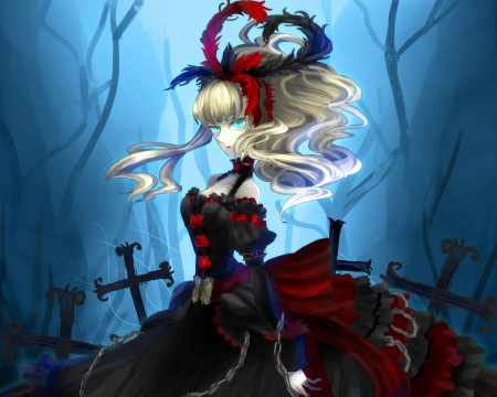 Grave Keeper - dress, blond, evil, eerie, horror, angry, creepy, scare, anime, darkness, gloomy, scary, graveyard, anime girl, blue eyes, female, gown, black, blonde, gloom, blonde hair, grave yard, grave, blond hair, girl, dark, bad, sinister, cross