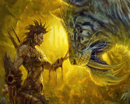 warrior and sabertooth tiger fantasy amp abstract