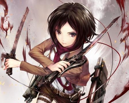 Mikasa Ackerman - angry, hd, white, chibi, anime, cute, sinister, warrior, plain, sexy, Mikasa Ackerman, mikasa, blood, brown hair, female, bloody, hot, mad, simple, girl, weapon, short hair, anime girl