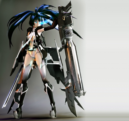 Black★Rock Vocaloid - hd, hatsune miku, anime, black rock shooter, hot, append miku, anime girl, weapon, vocaloids, long hair, sword, vocaloid, female, croosover, miku, twintails, bodysuit, sexy, cannon, cute, hatsune, warrior, girl, append