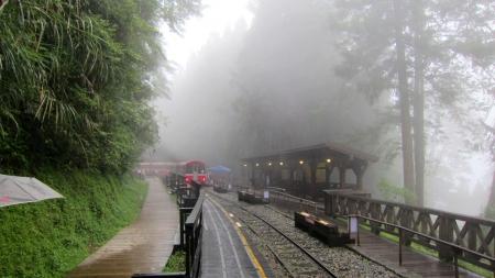 Foggy Raining Day In The Mountain Railway Station