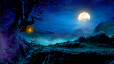 FULL MOON NIGHT - tree, fantasy, mountains, sky, fog, fullmoon