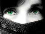 With green eyes