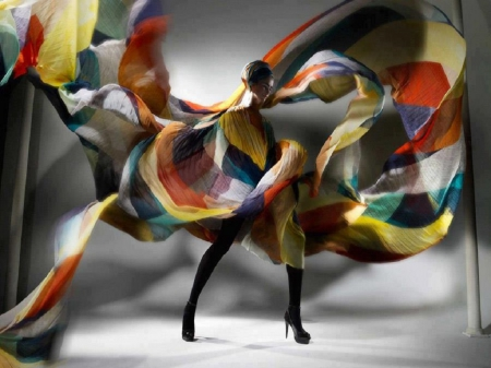 Dress Of Many Colors - photography, dress, model, abstract, woman