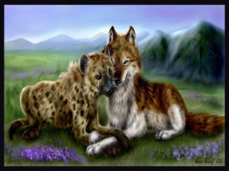 Sweet Friends - fantasy, hynea, wolf, abstract, animals, field