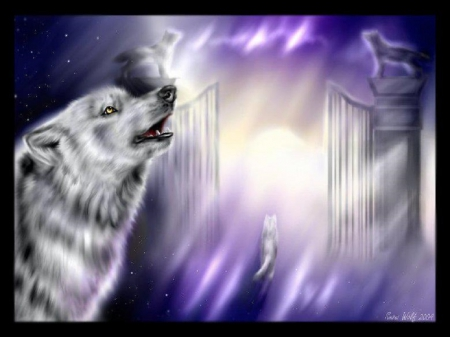Walking Into The Pearly Gates - fantasy, gates, wolves, abstract, sky, animals