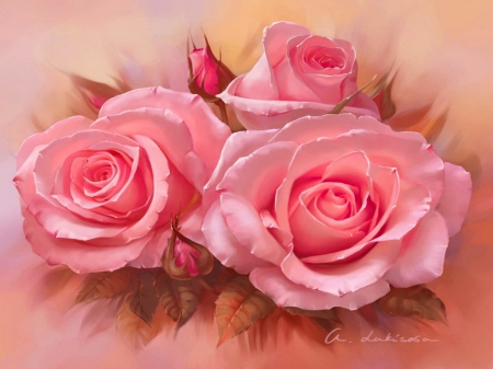 Pretty Pink Roses Other Abstract Background Wallpapers On