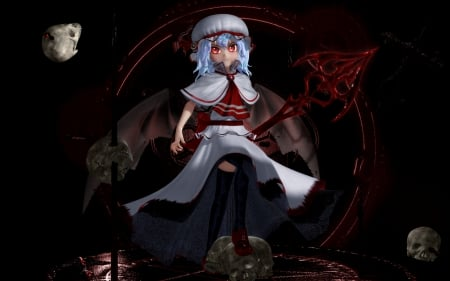Scarlet Devil - horror, remilia scarlet, creepy, scare, anime, darkness, touhou, gloomy, scary, hot, anime girl, female, gloom, sexy, cute, girl, creep, dark, sinister, remilia, skull