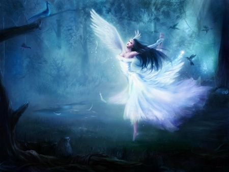 Angel - beauty, nature, wings, angel