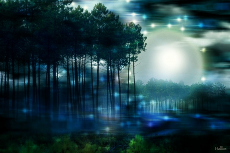 blue moon magical forests nature background wallpapers on