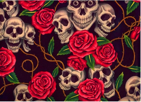 Skull And Red Roses Other Abstract Background Wallpapers
