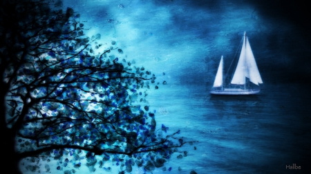 ✫Sailing Peace✫ - silent, splendid, attractions in dreams, beautiful, most downloaded, digital art, clouds, landscapes, scenery, light, other, blue, night, stars, colors, peace, sky, trees, cool, plants, magical, sailboat