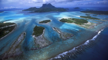 fantastic view of islands in a coral reef - view, coral reef, islands, sea