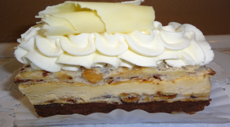Delicious Pastry Cake - cake, chocolate, whipcream, cheesecake, abstract, sweet, dessert, bakery, crust, pastry, white