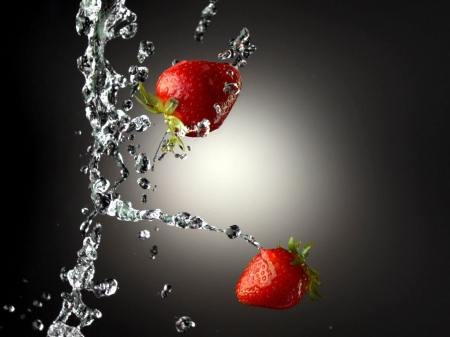 ~Strawberry Splash!~ - splash, fruit, strawberry, abstract