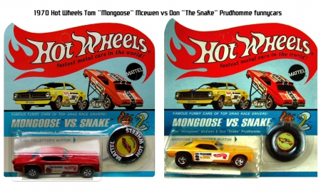 1970 Hot Wheels Mongoose Vs Snake Funnycars - diecast, plymouth, models, dragster, duster, mcewen, racing, rare, hot wheels, prudhomme, auto, funnycar, mongoose, snake, barracuda, vintage