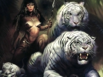 fantasy girl and tigers