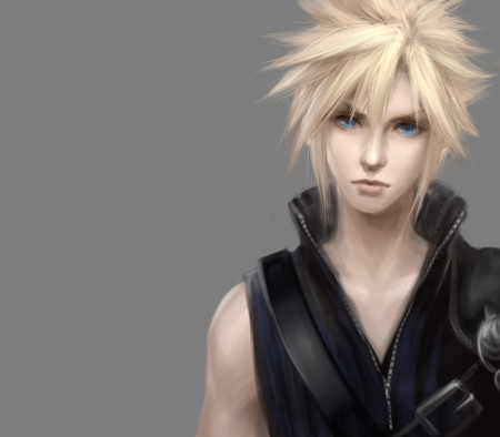 Cloud Strife - blond, hd, cg, guy, spiky hair, anime, handsome, hot, final fantasy, realistic, blue eyes, cloud, male, blonde, blonde hair, strife, sexy, final fantasy vii, blond hair, plain, short hair, cloud strife, boy, 3d, cool, simple