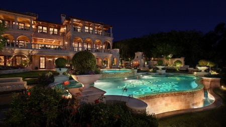Mansion with pool at night  gorgeous mansion backyard - Houses & Architecture Background ...