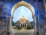 gorgeous entrance to a temple in delhi india
