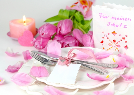 Tulips & candle - with love, candle, tulips, special day, for you, pink