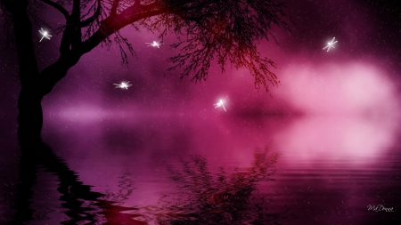 Magical Dragonflies - fantasty, water, shadows, dragonfly, dragonflies, Gothic, magical, goth, trees, reflection, bright, lake