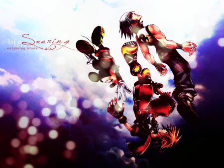 ~Soaring~ - falling, video game, kingdom hearts, square enix, clouds, riku, sora, mickey, disney, friends