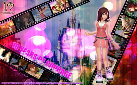 A Decade of Courage - colorful, video game, kingdom hearts, square enix, kairi, keyblade, riku, sora, castle, friends