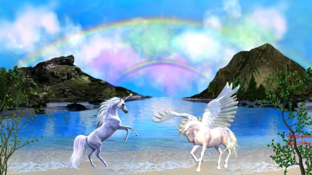 Fantasy Meeting 1920x1080 - Beaches, Unicorns, Pegasus, Rainbows, Fantasy